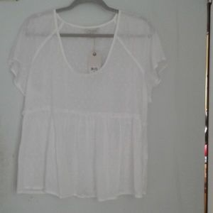 Sheer white peasant style lucky brand new with tag